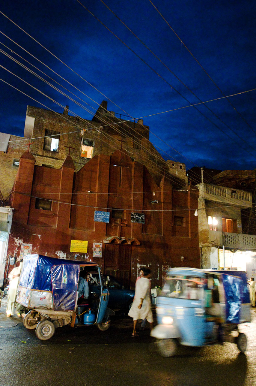 Pakistani Christian church at night in red light district of Lahore, Pakistan.