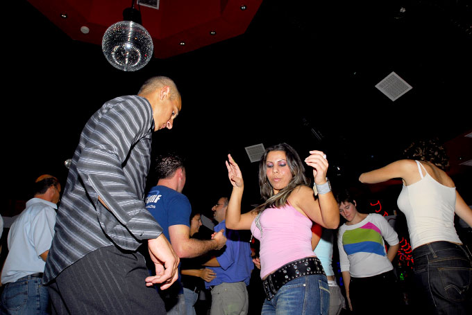 Palestinians dancing at COSMOS, the only night club in the West Bank.