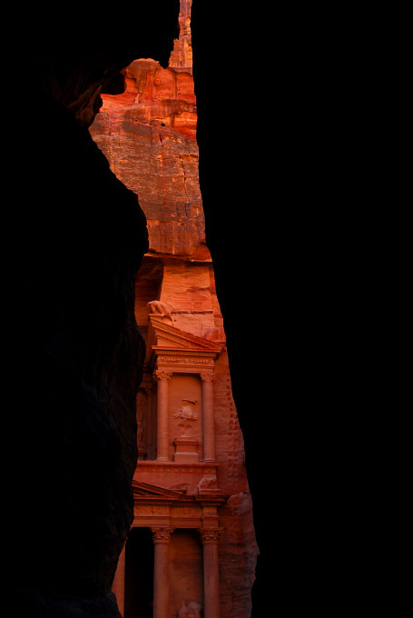 View of the Treasury in Petra Jordan