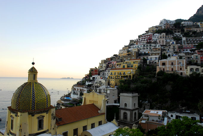 View from a balcony at Le Sirenuse Hotel in Positano Italy, on the Amalfi Coast.