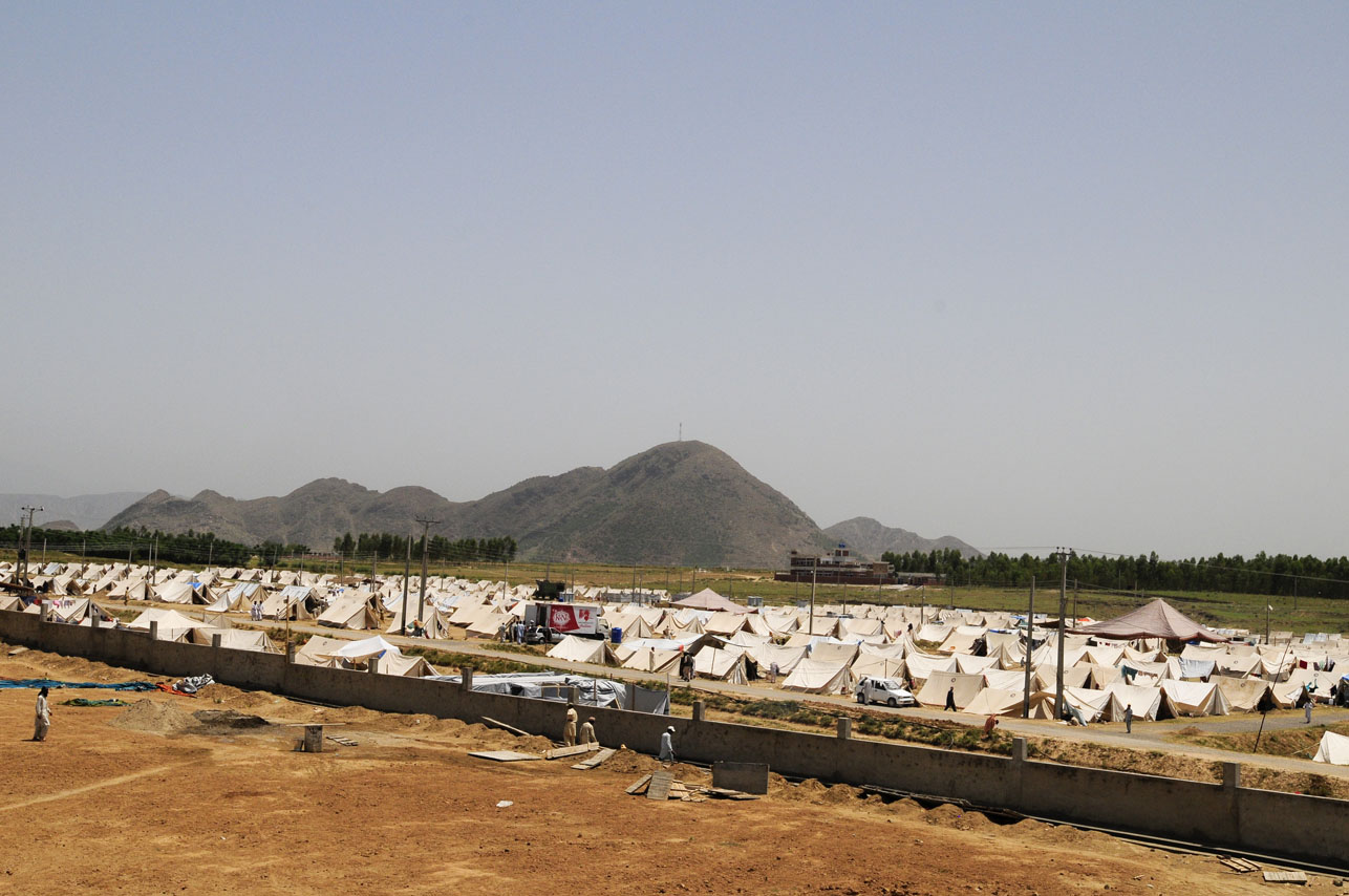 View of the Swabi IDP camp in Swabi, Pakistan on May 20, 2009.  There are now 1.5 million displaced people in Pakistan's North West.