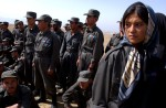 Afghan National Police training women officers at a shooting range outside Kabul, Afghanistan