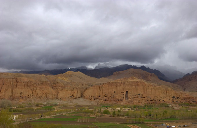 Landscape photograph of the male Buddha niche in Bamiyan Afghanistan on May 6, 2005. The 1,500-year Buddhas were carved into sandstone cliffs but were destroyed in 2001 by the hardline Islamist Taliban regime for being {quote}un-Islamic{quote}.