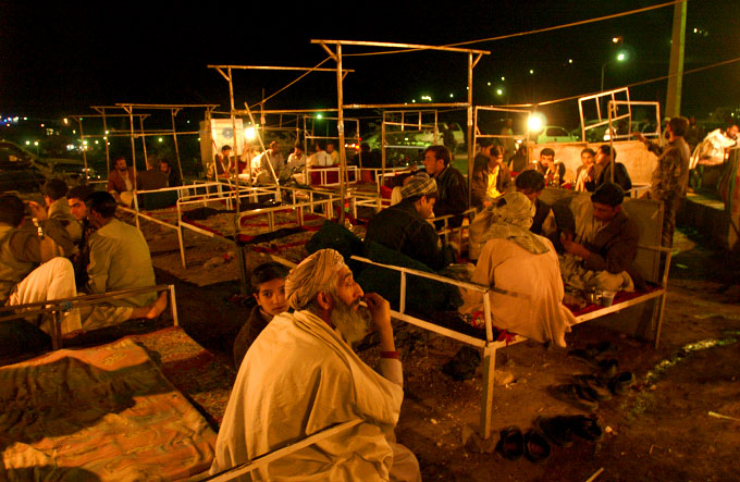 Men's sheesha bar in Herat, Afghanistan.  This custom of smoking sheesha pipes is brought over from neighboring Iran.