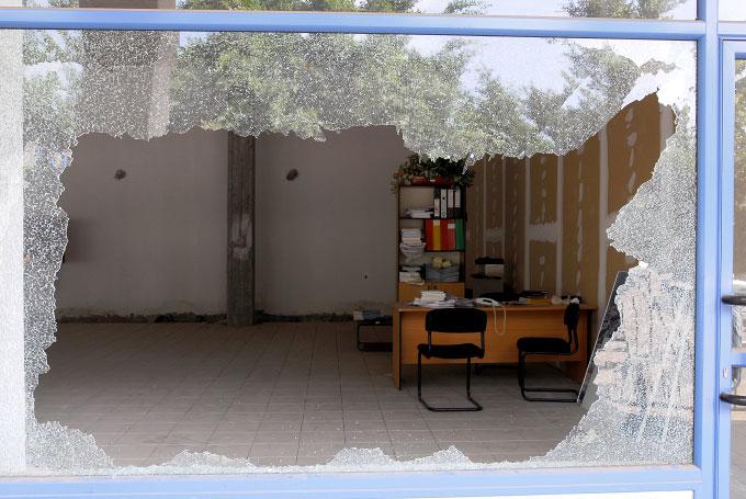 Office building destroyed by Katyusha rocketin Haifa, Israel