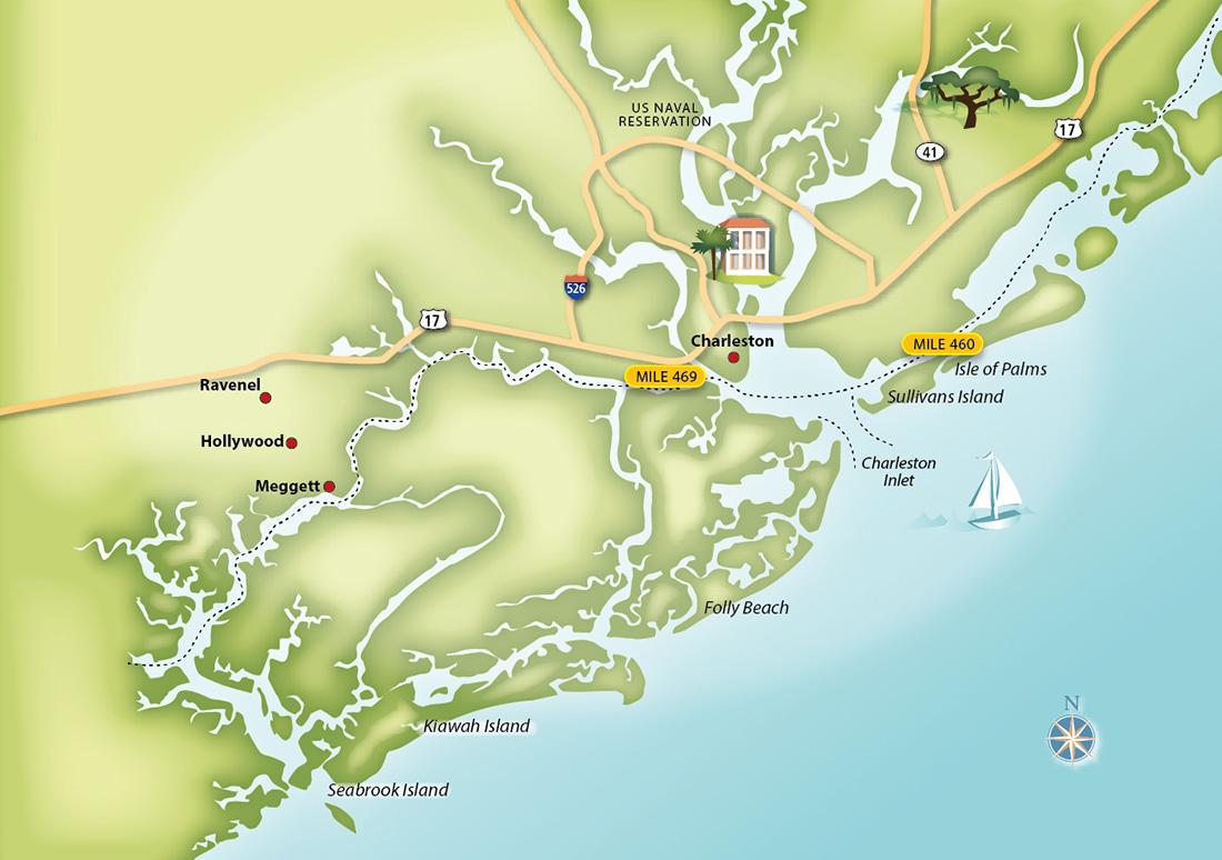 Maps & Infographics : Detail of Charleston Intercoastal Waterway ...