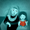 Reading Together Children's illustration of Muslim family enjoying life's simple pleasures.