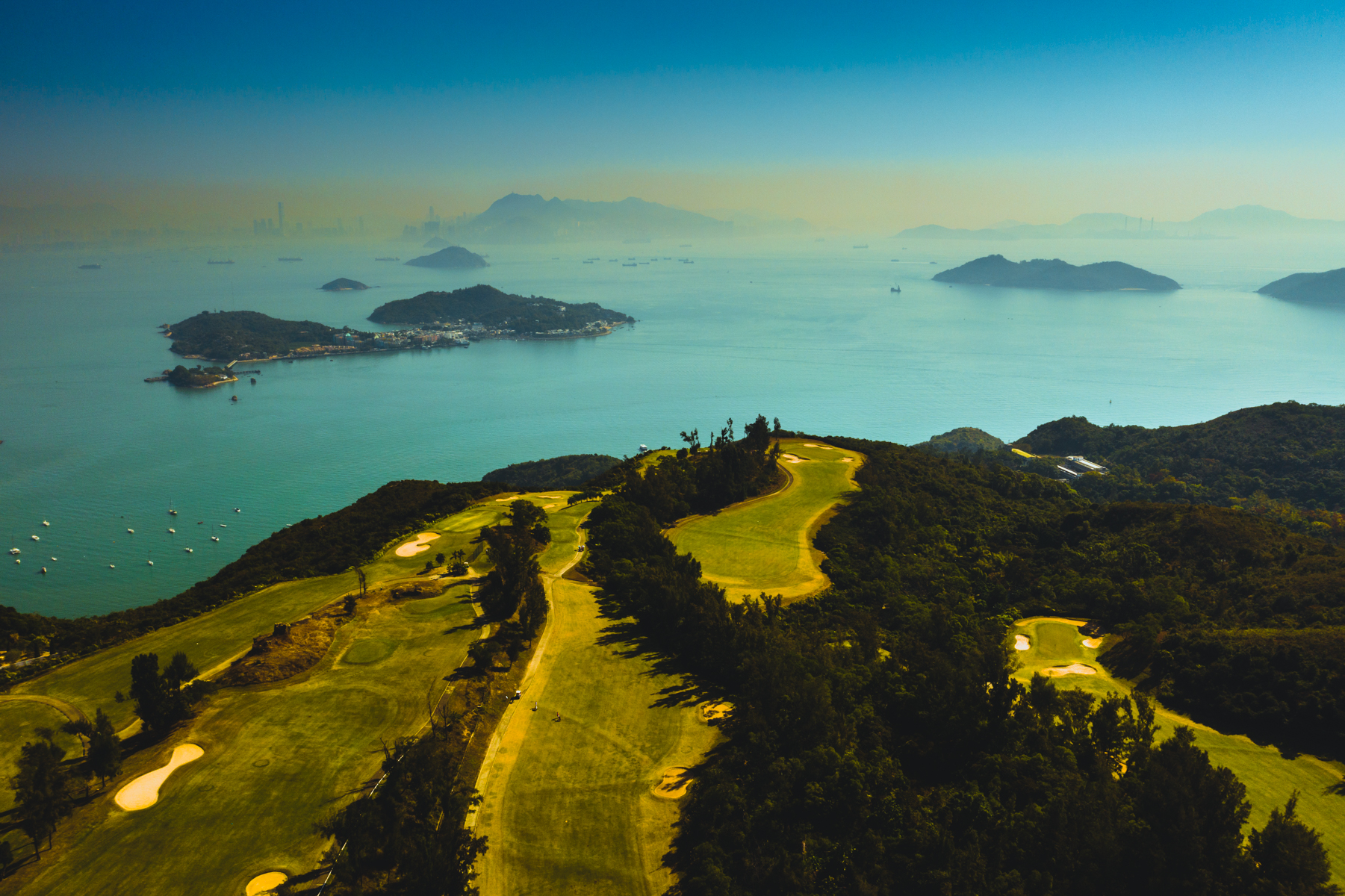 Looking over the fairways to Hong Kong Island.