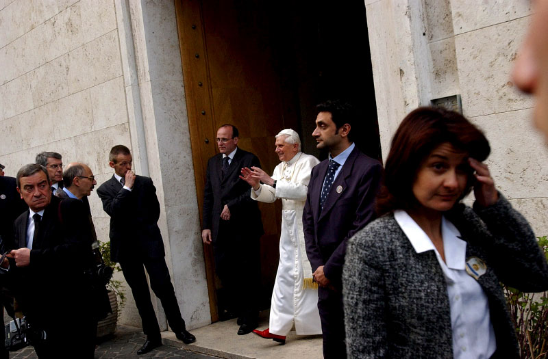 Pope Benedict XVI leaves his former residence just outside the Vatican after spending several hours there on Thursday, April 21, 2005, two days after he was named the new Pope.