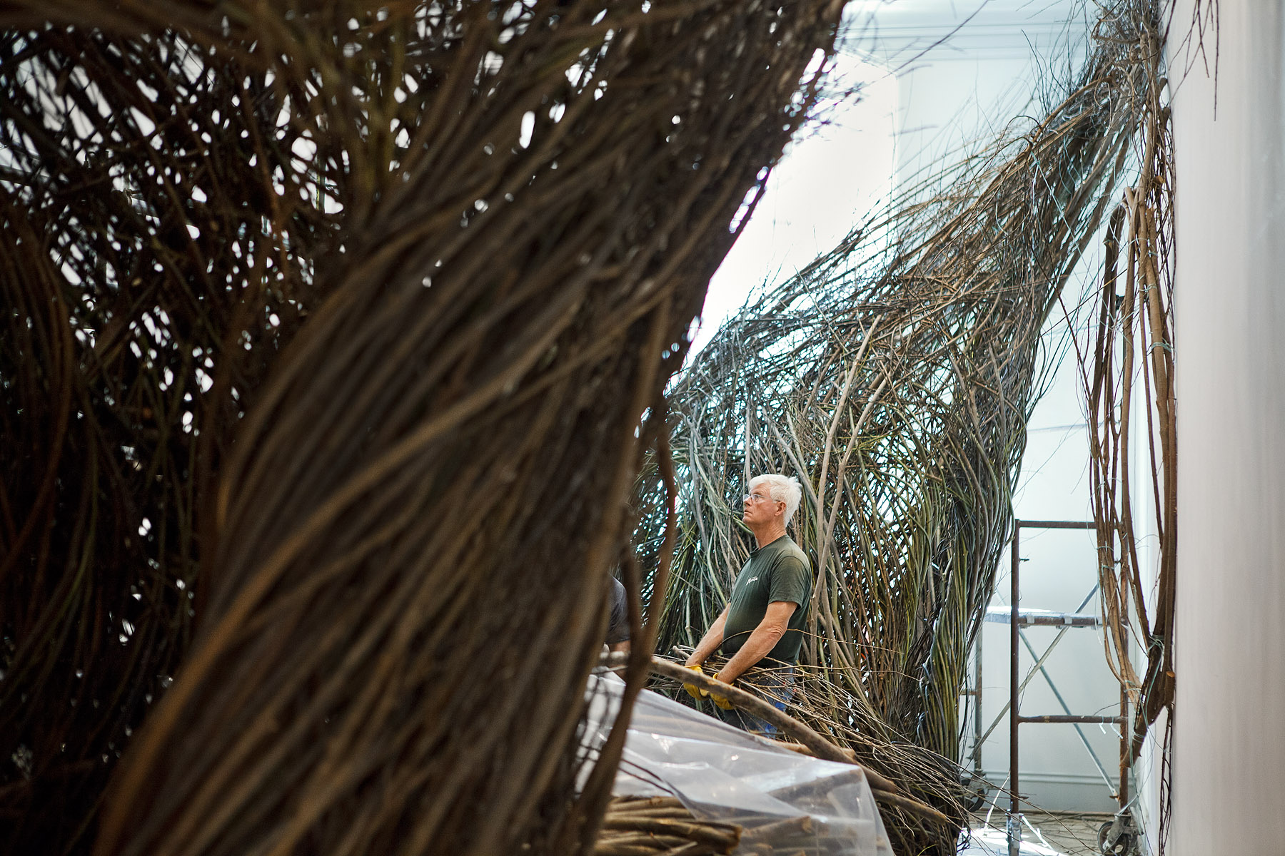RENWICK GALLERYSmithsonianWashington, DCPatrick DoughertyDuring installation ofShindigWONDER Exhibition 2015-16