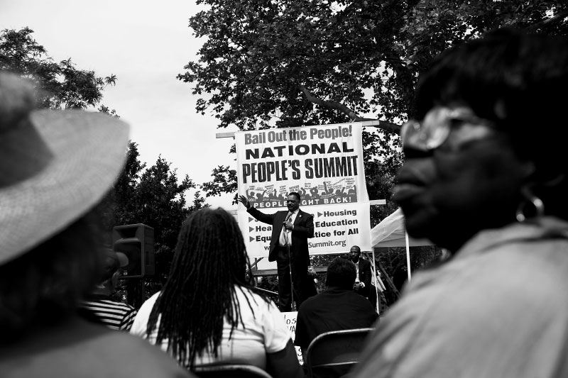 Jesse Jackson speaks out in Grand Circus Park in Detroit during the People Summit, a four-day protest event, which demands to bail out people, not corporations.
