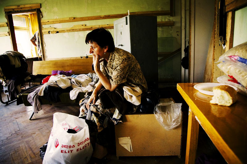 A newly arrived 52 year old internal displaced person from Tskhinvali in South Ossetia -- Luisa Babucidze --  stays at a refugee camp that used to be a former Soviet's military compound. Tbilisi, Geogia, Aug. 16 2008.