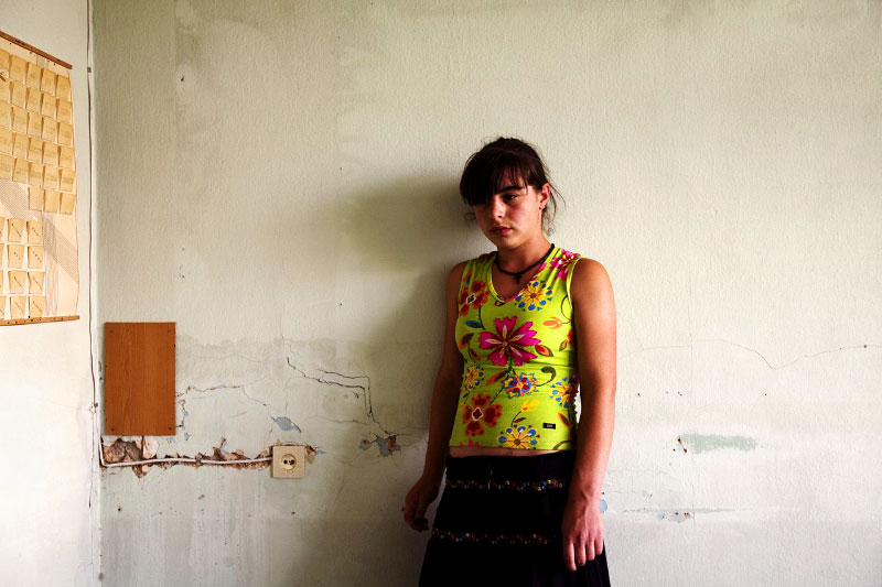 A newly arrived internally displaced person from Gori district -- Lika Masmishvili, 13 -- stays at a former Soviet military compound in Tbilisi, the capital of Georgia, as Russian troops continue to occupy large parts of the country. Aug 17, 2008.