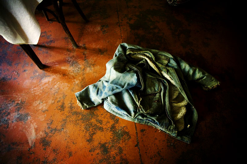 In Tkviavi village of Gori province, a jacket is left at a house that was looted and fired by allegedly Ossetian separatists, and a person was killed by them during the early August conflict between Russia and Georgia. Georgia, Aug 19 2008.