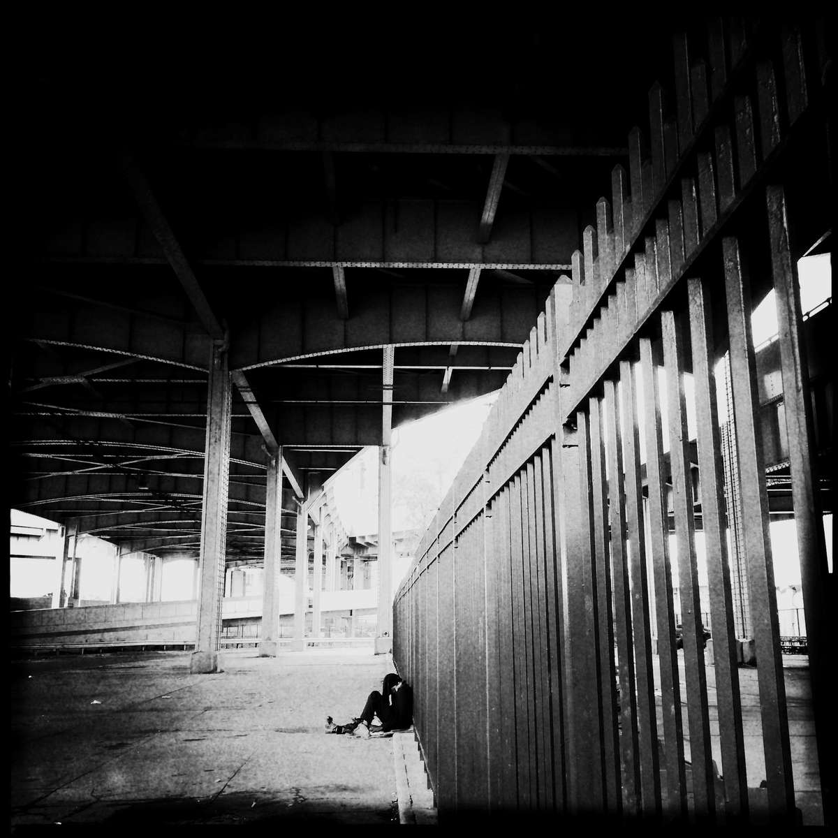 A man alone under the RFK Triborough Bridge. #lone #man #bridge #triboroughbridge #RFK_Triborough_Bridge #newyork