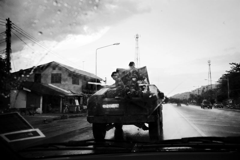 An armored vehicle patrols in the suburb of Yala city in South Thailand where the majority is Muslims and Muslim separate insurgency continues. April 07 2008, Yala, Thailand.