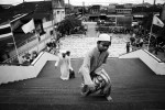 A child climbs up stairs to take the noon prayer at Yala Central Mosque in South Thailand, where the majority is Muslims and the Muslim separate insurgency continues. April 04, 2008, Yala, Thailand.