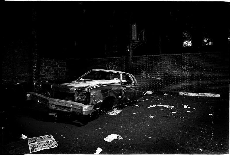 An abandoned car has been ripped off at a parking lot in Alphabet City, then one of the highest crime-rate areas . New York, June 1986.