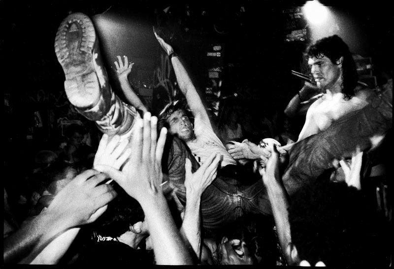 A fan crowd-surfs during Fishbone concert at legendary live house CBGB. New York, June 19 1991.