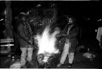 Bon-fire is a way of survival for homeless men in the Park during freezing night. Yet, they have been often forcefully put it out, since it is illegal, and then sometimes resulting in their death. New York, Dec 1989.