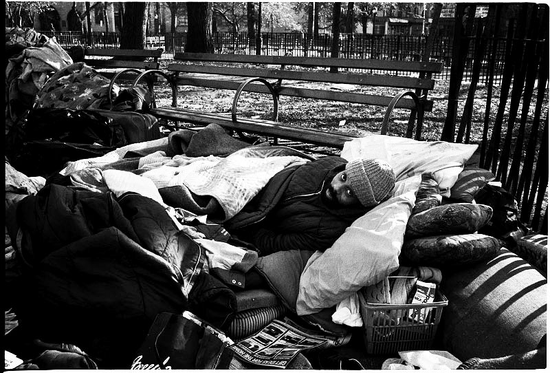 A morning scene with a homeless man in the park. November 1989.