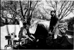 A homeless couple stay at their tent in Tompkins Sq Park due to no safe and proper place to go, while fearing the rumor of the coming forceful eviction from the park. New York, Dec 07, 1989.