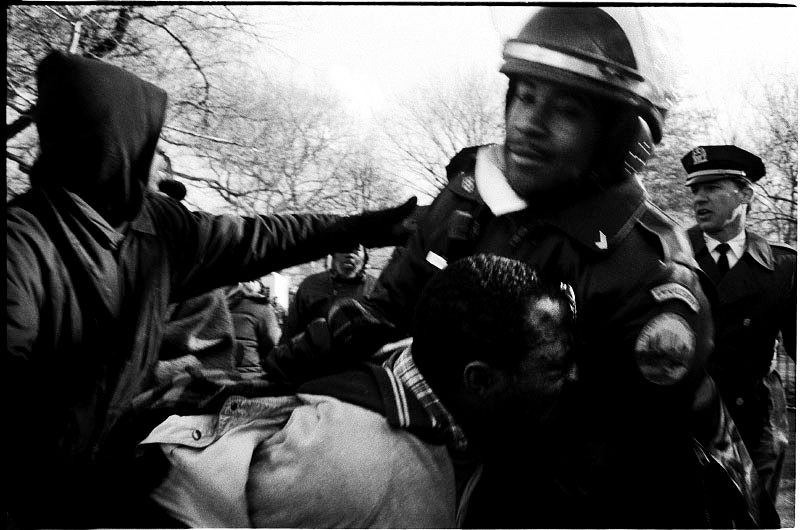 During the forceful eviction of the homeless in Tompkins Sq Park, a complaining resident is roughly arrested. New York, Dec 14 1989.