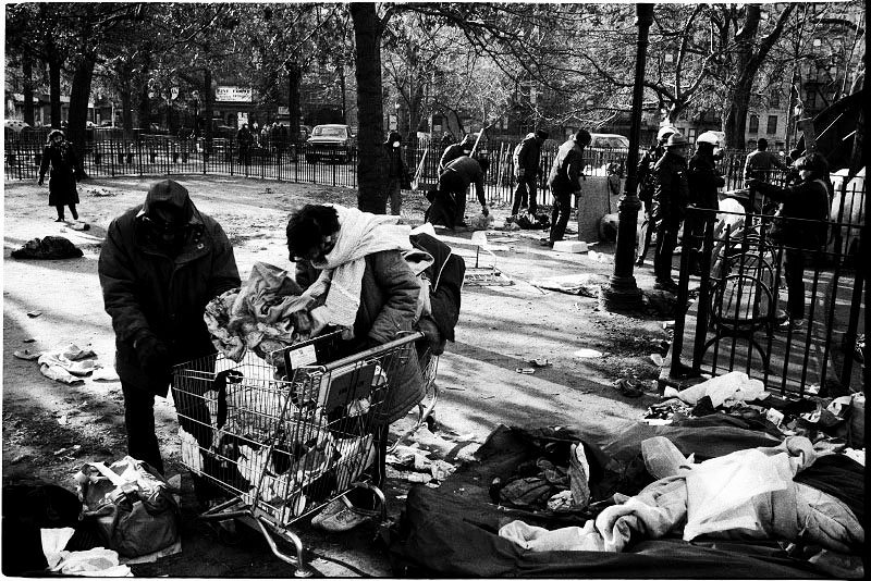 On the freezing early morning, a homeless couple, Chris and Barbara, pack their stuff as they are facing the forceful eviction from the park. Dec 14 1989.