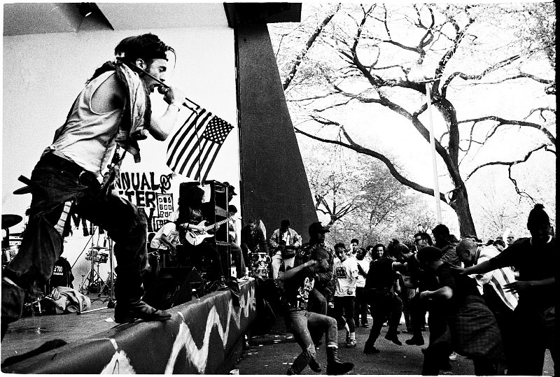 "Punk-rock band False Prophets during the event of ""Resist to exist"", in Tompkins Square Park, a few months before the park was closed and the band shell demolished. New York, May 01 1991."