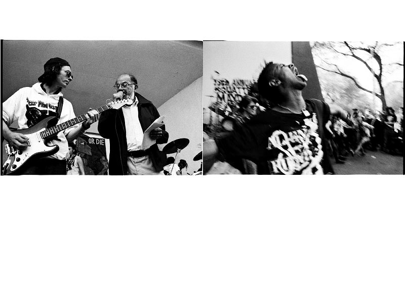 The left: Allen Ginsberg recites a poem during the event of {quote}Resist to Exist,{quote} in Tompkins Sq Park, a few months before the park was closed and the band shell demolished. New York, May 01 1991.The right: An anarchy fashion conscious high teen dances during the event. New York, May 01 1991.