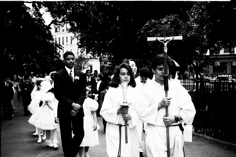 A Sunday mass of St. Brigid's Church is held in the Tompkins Sq Park to appeal the human rights of homeless people in the park and New York. June 02, 1991.