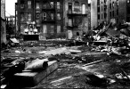 The flattened Dinkins' Ville where many homeless people had been squatting due to not enough proper accommodation in New York. Alphabet City, New York, Oct 16 1991.