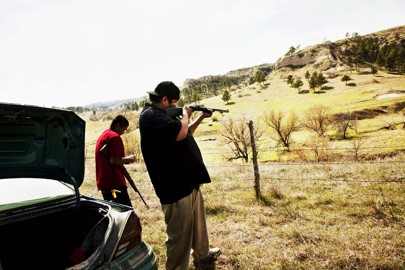 A shooting practice in the reservation; Although the gun practice is rooted on part of American Indian tradition or hunting culture in the old days, many in the reservation illegally have guns, and those are often used by gangsters.