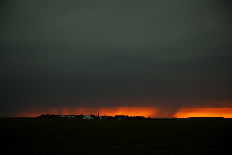A scene of a storm with beaty, yet it often destroys Lakota people's fragile houses.