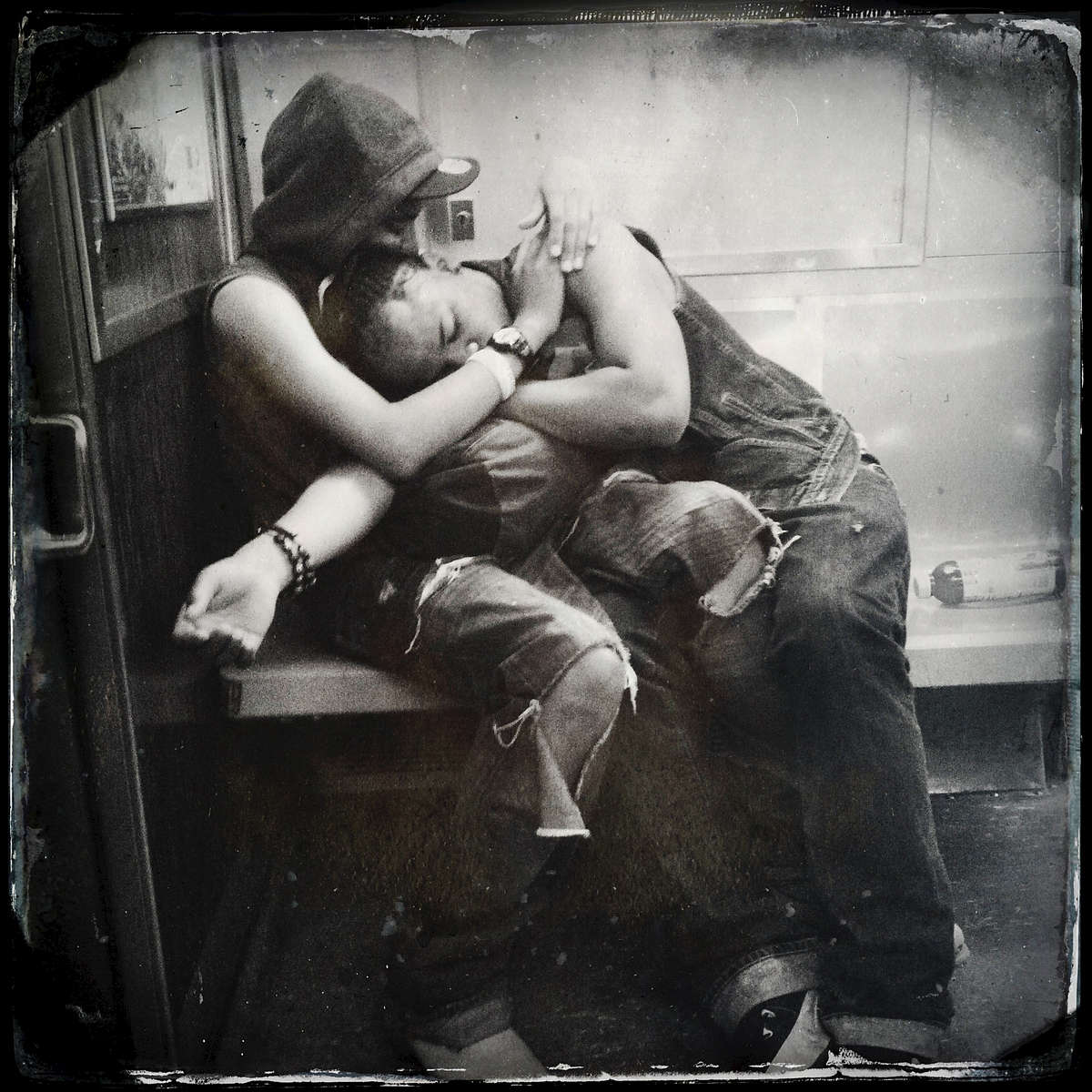 Lovers in subway.