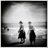 Young orthodox Jewish women on an unusually warm spring day -- Coney Island, Apr. 2017.