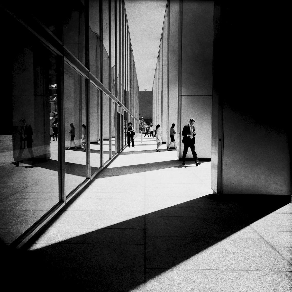 Light and shadow at the financial district, Aug. 2014.