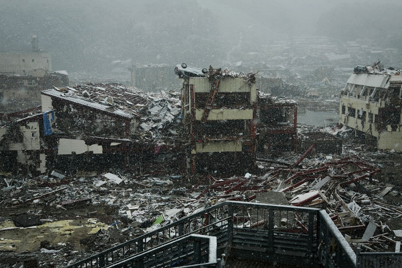 The destroyed scene of Onagawa, Miyagi, due to the unprecedented tsunami in Japan.