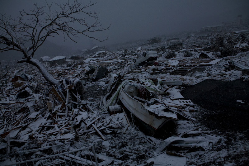 The destroyed site in Otsuchi, Iwate, due to the unprecedented tsunami in Japan.