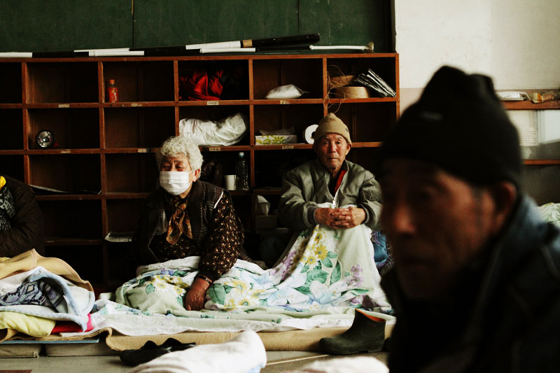 Survivors at the evacuation center in an elementary school in Otsuchi, Iwate.