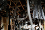 A keyboad hangs at a destroyed house in Otsuchi, Iwate.