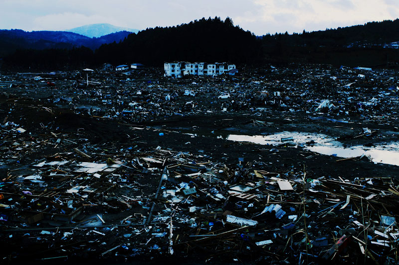 The destroyed scene of Minami-Sanriku, Miyagi, due to the unprecedented tsunami in Japan.