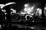A blind performer in a rainy night in Donetsk, as the economic crisis has started to hit Ukraine. Donetsk. Nov 26 2008.