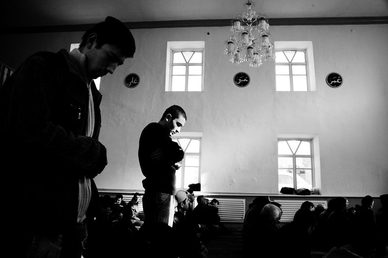 Crimean Tatars pray at a mosque in Simferopol in Crimea. Tatars are minority in Crimea yet they used to virtually have their own country there, and many have come back from the forced exile, and now they demand their autonomy. Meanwhile, Crimea is an autonomous republic of Ukraine, located in the south of the country on the Black Sea, and the majority is absolutely Russians. Russia has kept remaining the Black Sea Fleet in Sevastopol for over 200 years, even after Ukraine's 1991 independence. Although the fleet remaining is due to the two country's agreement, because of the status, Crimea has become one of the Russia-related potential flashpoints. Nov 14 2008.
