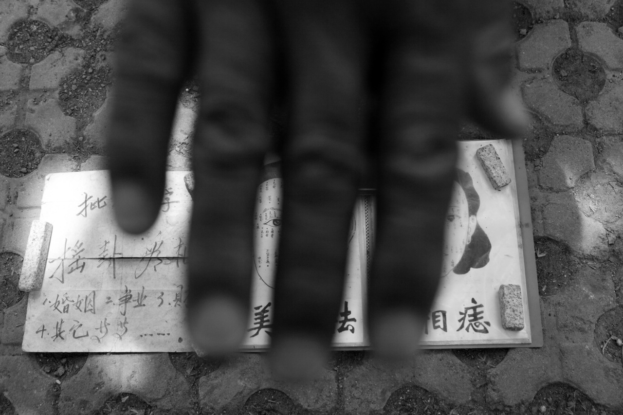 Hand of a fortuneteller in Lushun/ Dalian, Manchuria, or China's North East. Lushun was once one of the most bloody battle grounds in early 20 century.