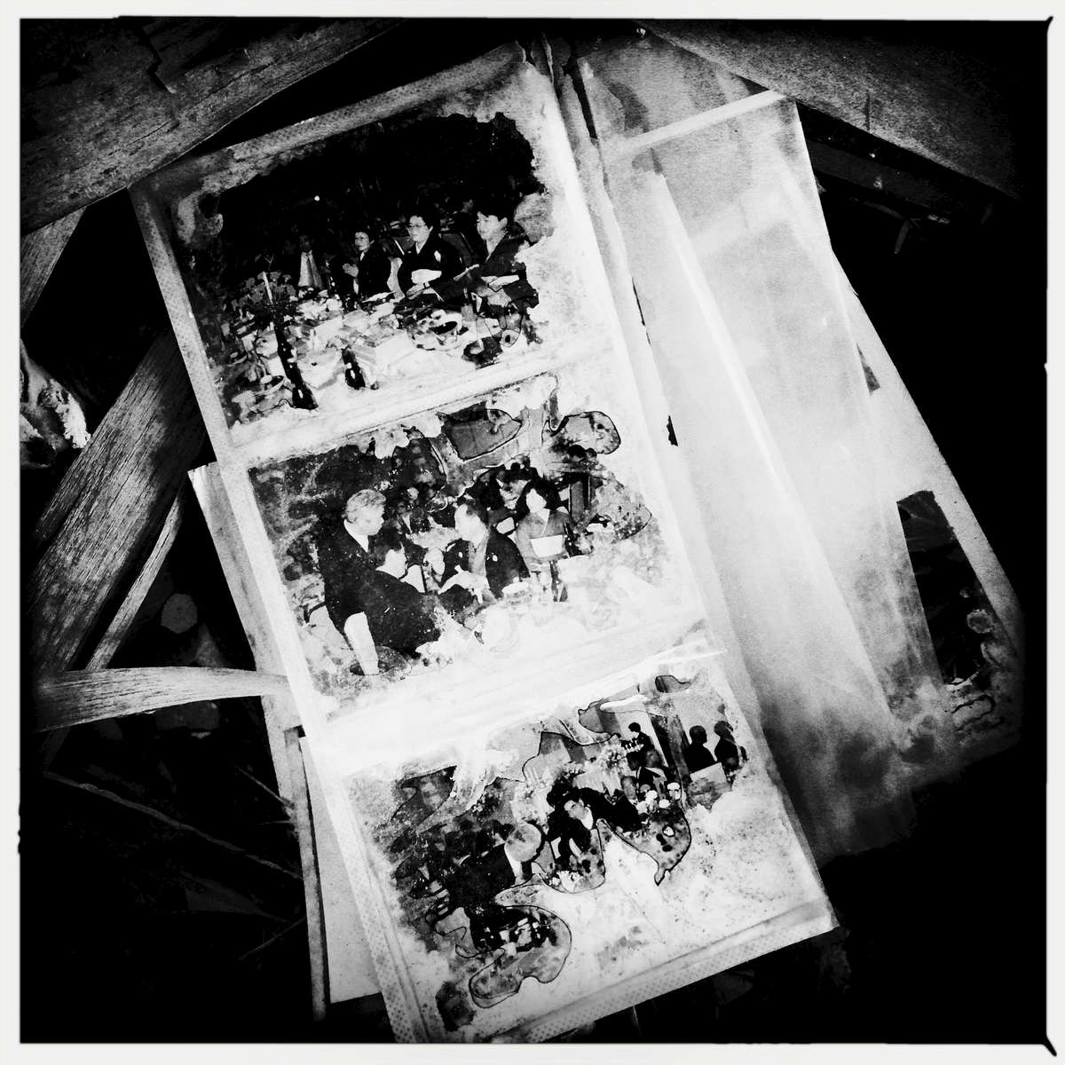 Photos remain at a tsunami-destroyed house. May/ 2015, Odaka, Minami-Soma.