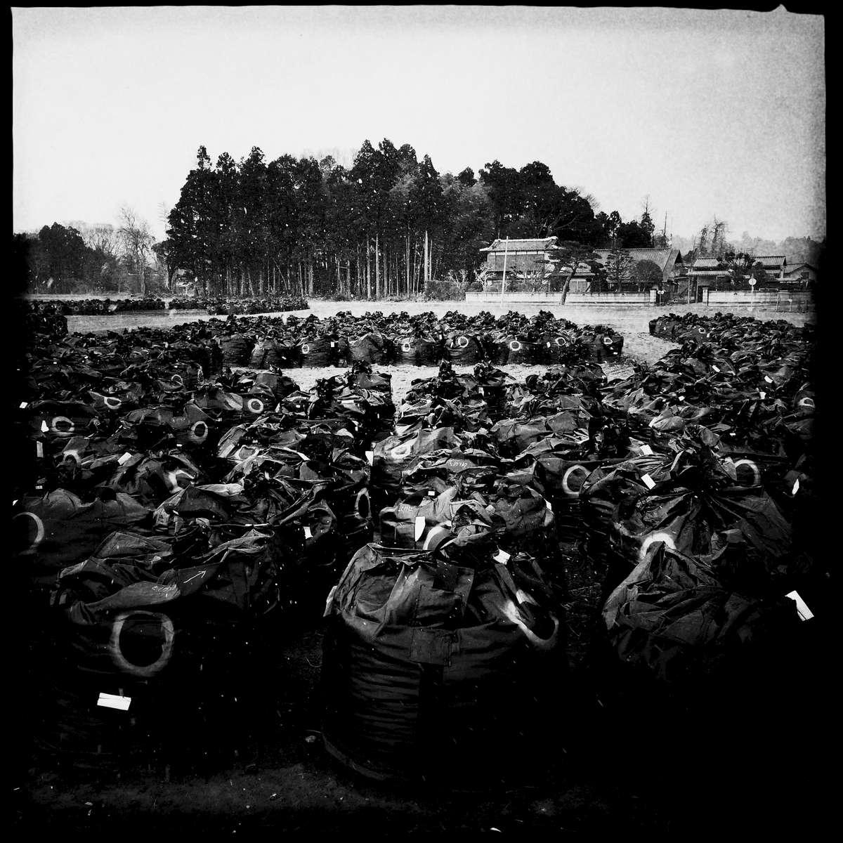 Bags of radiation contaminated soil. Mar/ 2014, Naraha, Minami-Soma.