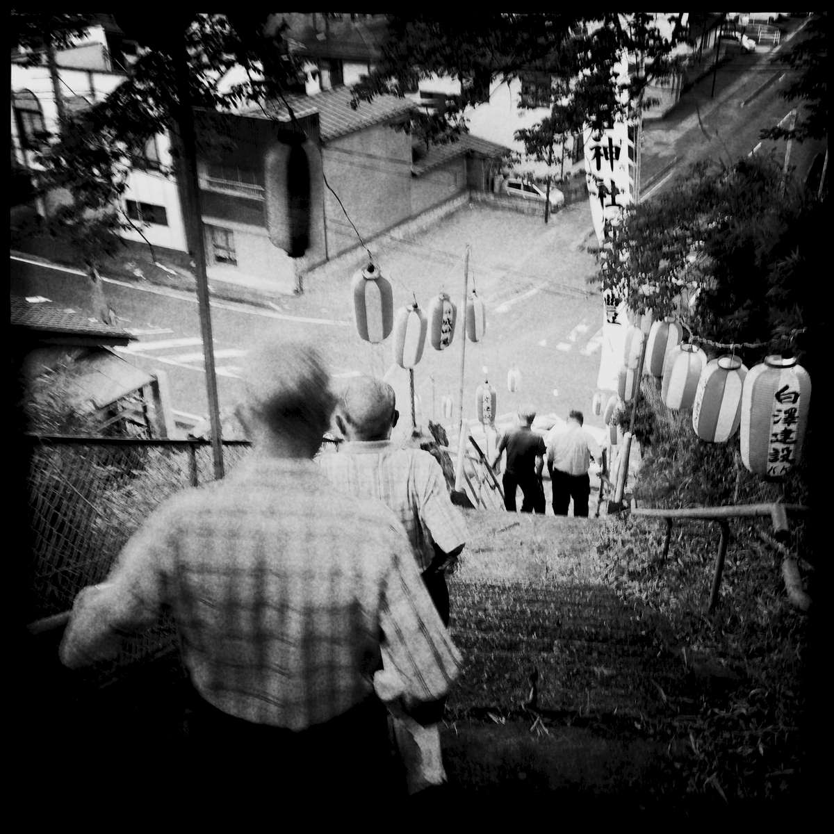 Old people, or hard to see the young, during a summer event at Atago shrine. July/ 2014, Motomiya.