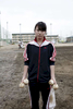 A 17 year old Fukushima evacuee and high school baseball manager Reina Wadayama, as many uncertainties including even the playground itself, due to the nuclear disaster, continue. Aug/ 2011, Fukushima-city.