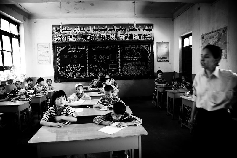 An elementary school in an Uighur community in Xinjiang, as the government has started to shift the entire education system to Mandarin Chinese.